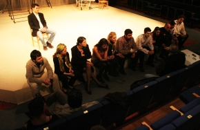 "Getting notes from director Zurab Sikharulizde, Bilkent Theater during the production of Nazim Hikmet's ""Despite All"" - Class of 2006"