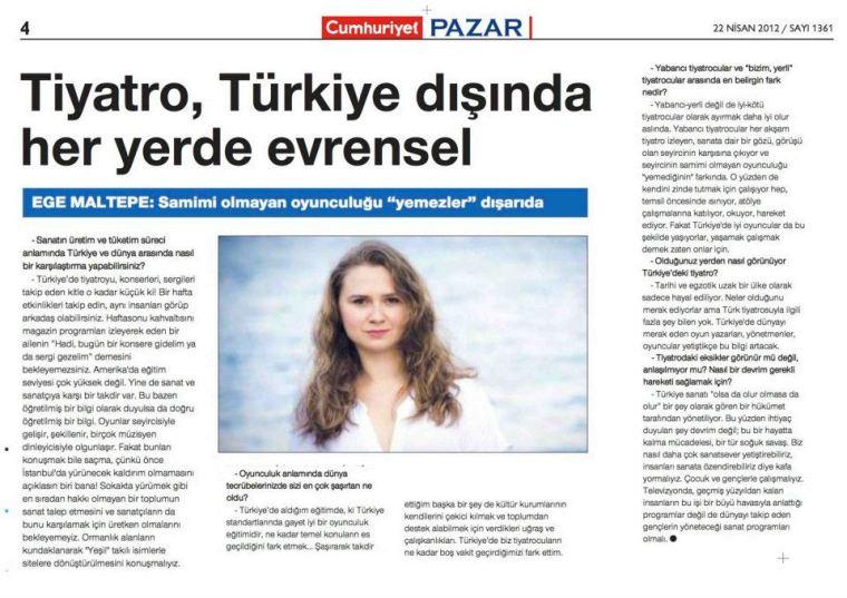 Cumhuriyet - Pazar, 22 Nisan 2012