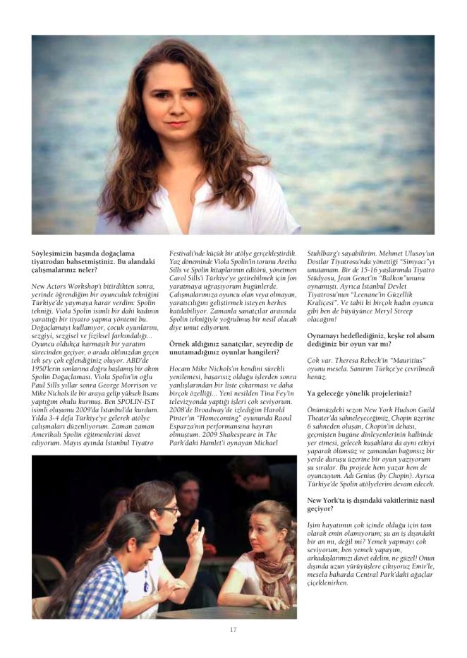 Bilkent Dergi'deki Röportajda, doğaçlama hakkında